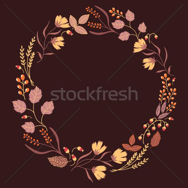 Stock fotó: Sötét · ősz · virágmintás · keret · gyűjtemény · aranyos