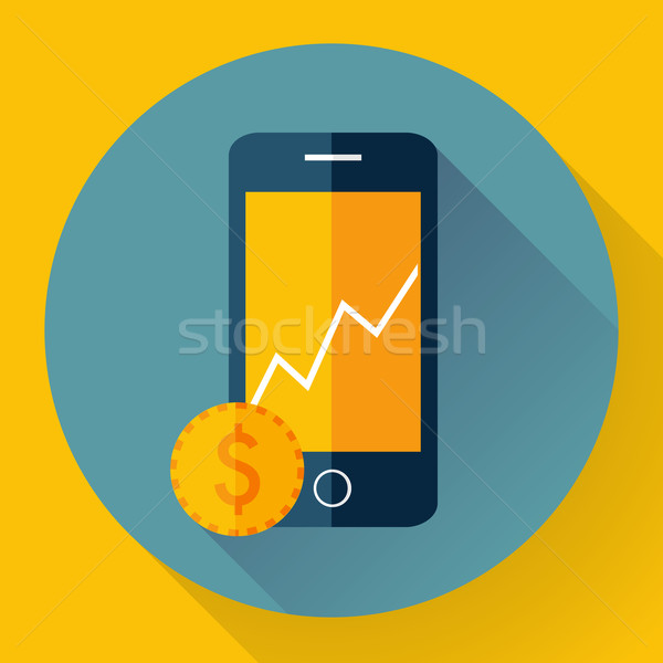 Mobile phone icon with coin Stock photo © MarySan