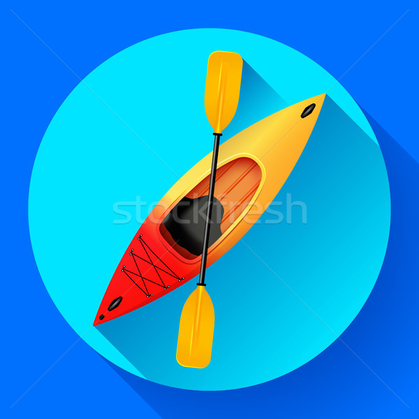 Kayak and paddle icon vector. Outdoor activities. Yellow red kayak, sea kayak flat icon Stock photo © MarySan
