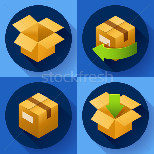 Delivery and free return of gifts or parcels. Shipping Concept icon for store Stock photo © MarySan