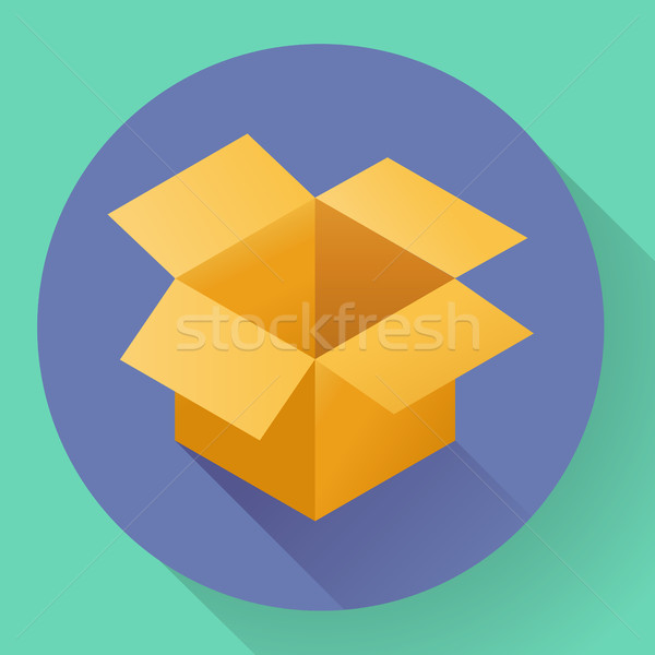 Icon of empty post cargo cardboard box. Flat style Stock photo © MarySan