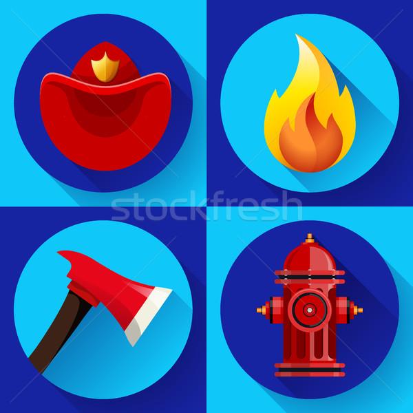 Firefighter icons elements set Stock photo © MarySan