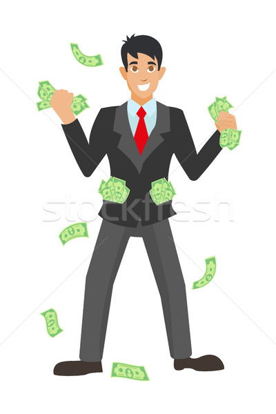 Happy super rich successful businessman raises his hands under money rain Stock photo © MarySan