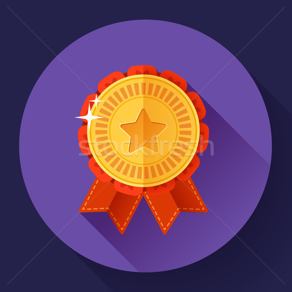 Gold shiny medal with ribbons badge icon. Flat design style. Stock photo © MarySan