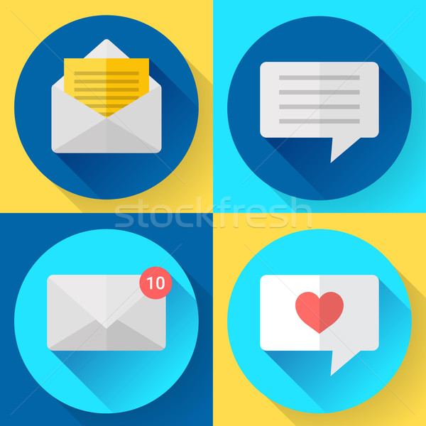 Flat color message sms icons set Stock photo © MarySan