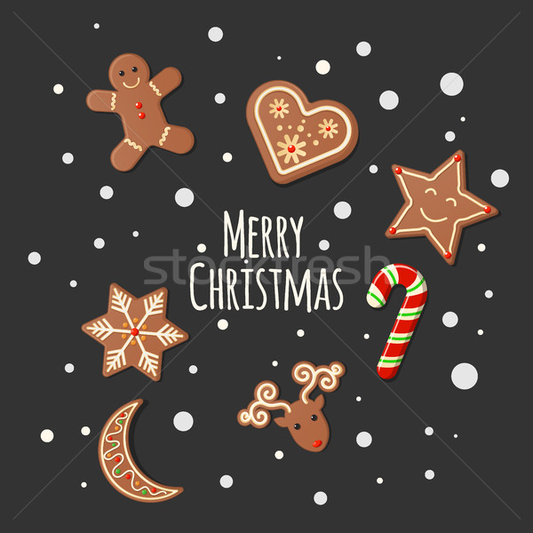 Gingerbread Cookies - Merry Christmas sign Stock photo © MarySan