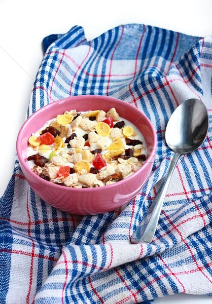 Házi készítésű müzli joghurt tál gabonafélék étel Stock fotó © MarySan