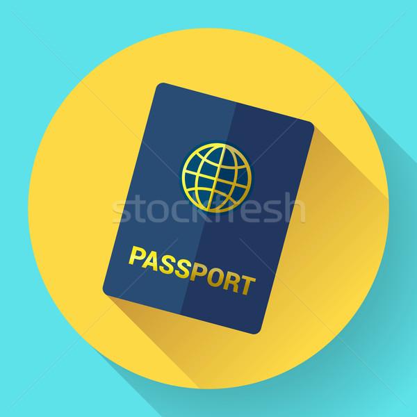 Vetor azul internacional passaporte globo negócio Foto stock © MarySan