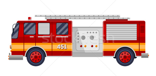 red fire truck engine on white vector illustration. Stock photo © MarySan
