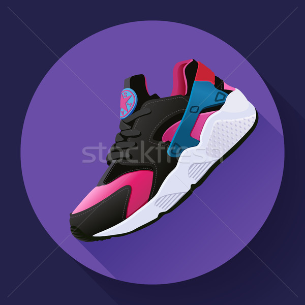 Stock photo: fitness sneakers shoes for training running shoe flat design with long shadow