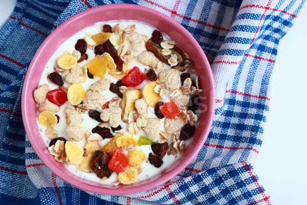 Casero muesli yogurt tazón cereales alimentos Foto stock © MarySan