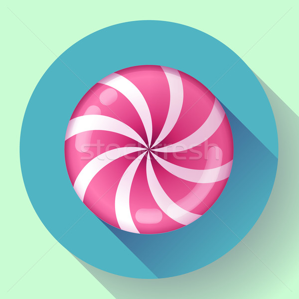 Sweet lollipop candie icon. Flat design style. Stock photo © MarySan