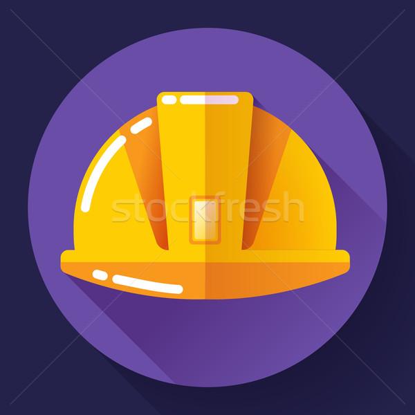 Orange construction worker helmet icon. Flat design style. Stock photo © MarySan