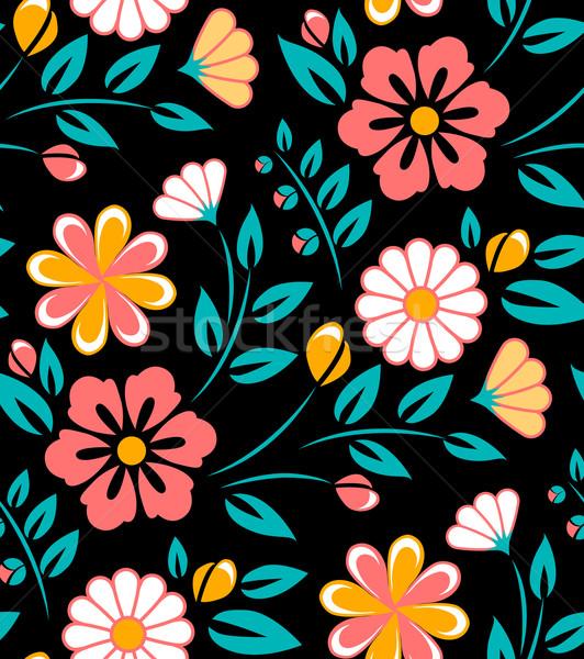 Senza soluzione di continuità fiore di primavera pattern nero stile bianco Foto d'archivio © MarySan