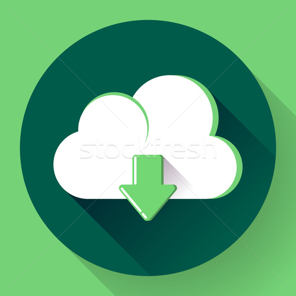 Verde nube download icon design stile web Foto d'archivio © MarySan