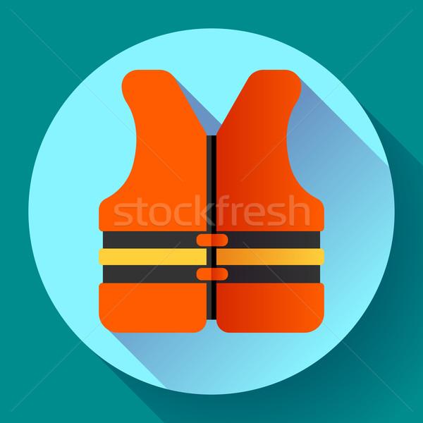 life safety jacket vest icon flat 2.0 vector Stock photo © MarySan