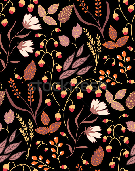 Dark Autumn floral seamless pattern Fall autumn leaves. Nature symbol vector collection Stock photo © MarySan