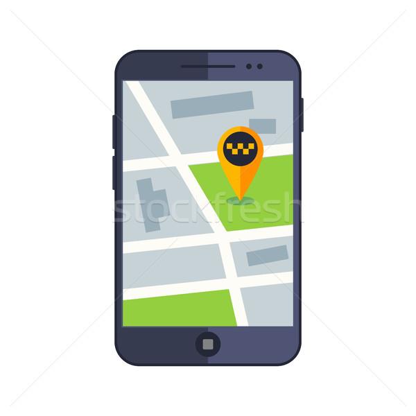 Táxi serviço aplicativo mapa telefone móvel gps Foto stock © MarySan