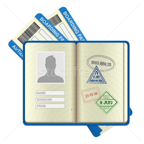 Open foreign passport and airline tickets Stock photo © MarySan