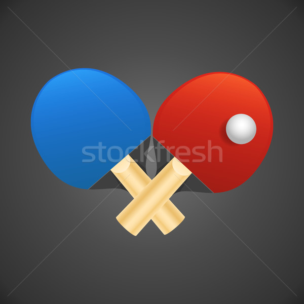 Table tennis rackets with ball vector illustration on dark backgorund. Stock photo © MarySan