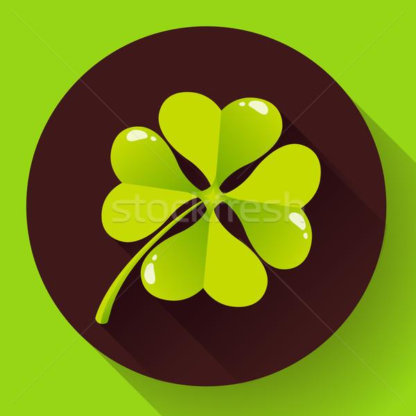 Four-leaf quatrefoil clover icon. Flat design style Stock photo © MarySan