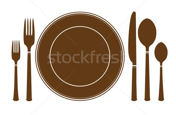 Plaat mes vork icon geïsoleerd witte Stockfoto © MarySan