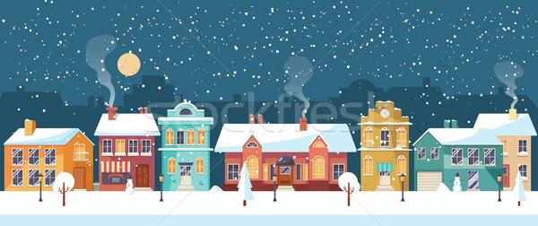 Christmas noc miasta panorama miasta Zdjęcia stock © MarySan