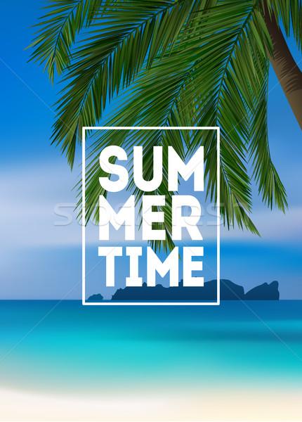 Nyár trópusi pálmafák tenger tengerpart plakát Stock fotó © MarySan
