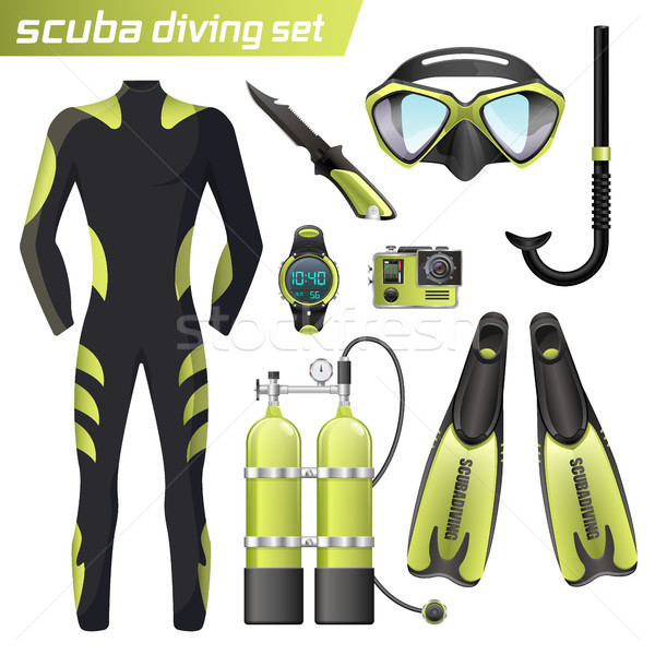 Realistic snorkeling and scuba diving equipment. Scuba-diving gear isolated. Diver wetsuit, scuba ma Stock photo © MarySan