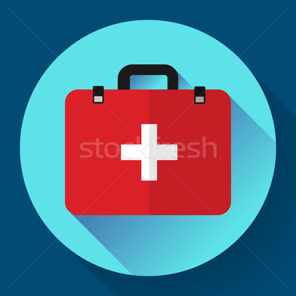 First aid case flat icon with shadow. Vector illustration. Flat design style Stock photo © MarySan