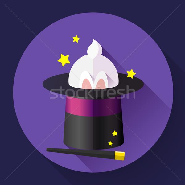 Komik tavşan büyü şapka dizayn stil Stok fotoğraf © MarySan