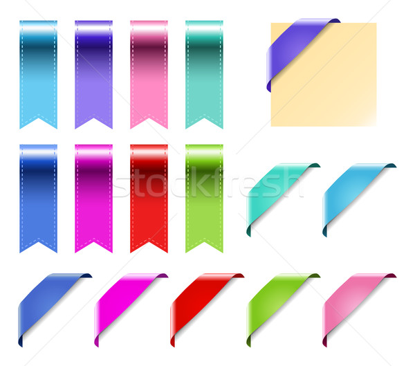 Web Ribbons Set With Gradient, isolated on white Vector Illustration Stock photo © MarySan