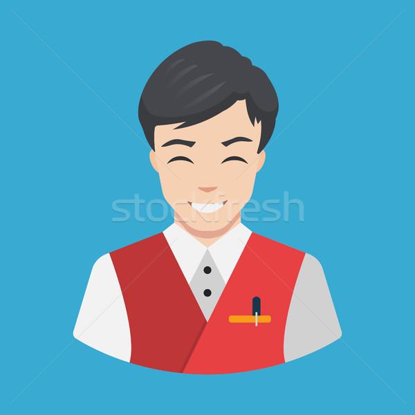 персонал отеля официант икона дизайна вектора улыбаясь Сток-фото © MarySan