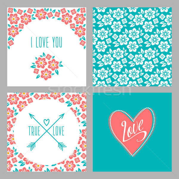 Set of Flower wedding invitation cards and 4 patterns, greeting, true love, i love you sign. Folk st Stock photo © MarySan