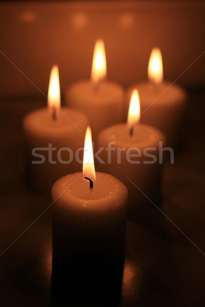 Holiday candles burning Stock photo © MarySan