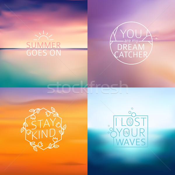 Set of 6 different landscape blurred backgrounds with typography text. Vector Stock photo © MarySan