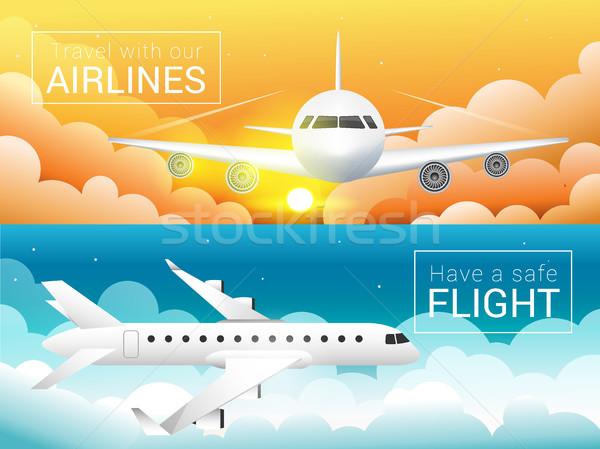 Passenger airplane at sunset sky clouds,,safe flight across the sky Stock photo © MarySan