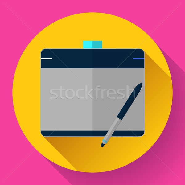 Graphic tablet icon. CG artist and Designer symbol. Flat design style. Stock photo © MarySan