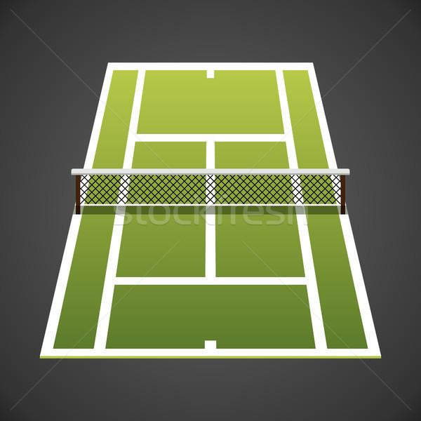 Pista de tenis grande icono hierba deporte Foto stock © MarySan