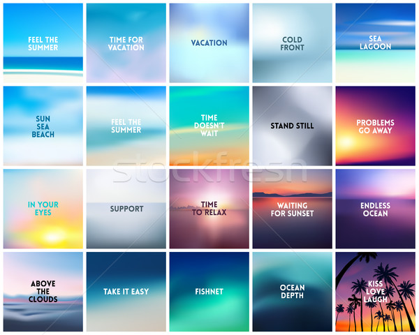 Stock photo: BIG set of 20 square blurred nature backgrounds. With various quotes