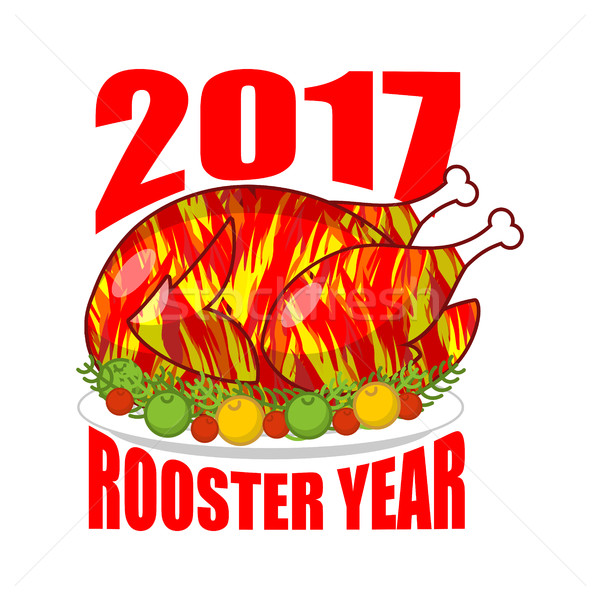 Fire Rooster year 2017. Fried cock symbol of new year. Roasted c Stock photo © MaryValery