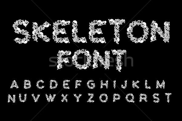 Skeleton font. Letters anatomy. Bones ABC. Skull and spine. Jaw  Stock photo © MaryValery