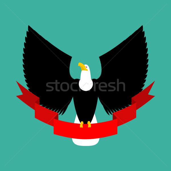 Eagle and red ribbon. Big black bird emblem Stock photo © MaryValery