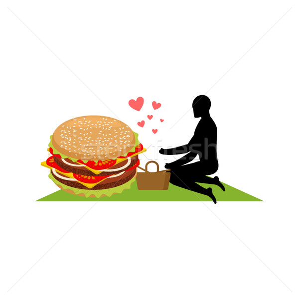 lover fast food. Man and hamburger on picnic. Guy and Burger. Me Stock photo © MaryValery
