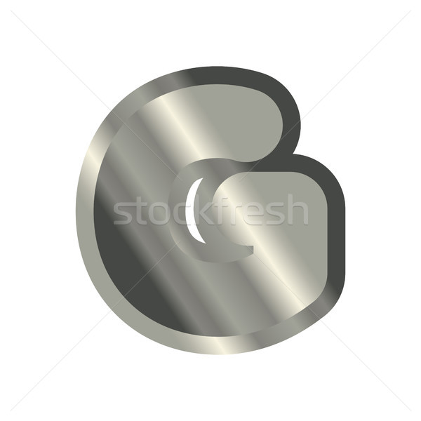 Letter G steel font. Metal alphabet sign. Iron ABC symbol. chrom Stock photo © MaryValery