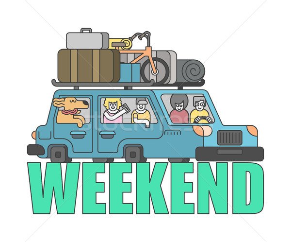 weekend outline style. Car Family go to camping line style. Thin Stock photo © MaryValery