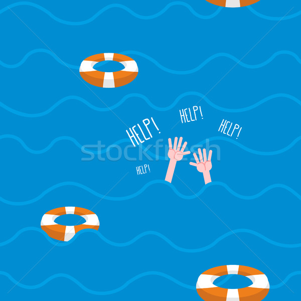 Man drowns  seamless pattern. Lifebuoy on waves of sea. Texture  Stock photo © MaryValery