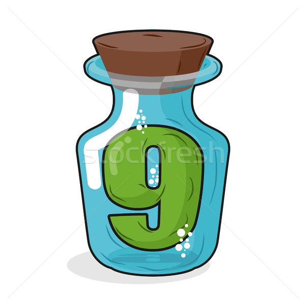 Number 9 in  bottle. Green figure in a blue glass jar. Magic pot Stock photo © MaryValery