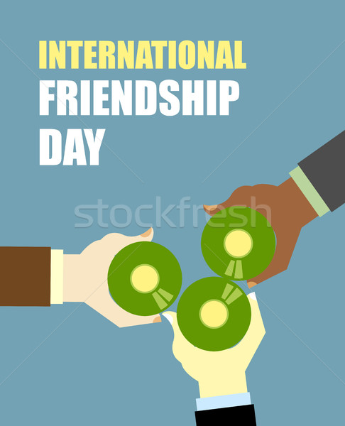 International Friends Day. Friends drinking beer. Top View Clink Stock photo © MaryValery