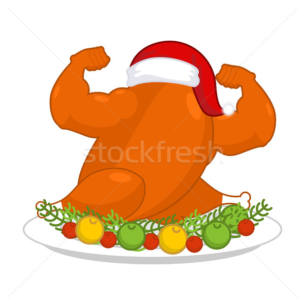 Christmas turkey strong in Santa red cap. Fitness food for New Y Stock photo © MaryValery